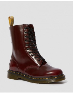 VEGAN 1490 MID CALF BOOTS - CHERRY RED OXFORD RUB OFF