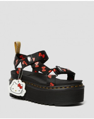 VEGAN WOMEN'S HELLO KITTY PLATFORM SANDALS - BLACK-RED HELLO KITTY BOW WEBBING