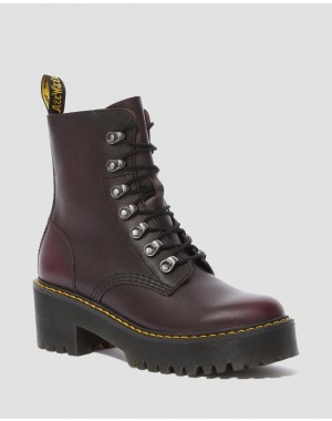 LEONA WOMEN'S VINTAGE LEATHER HEELED BOOTS - BURGUNDY VINTAGE