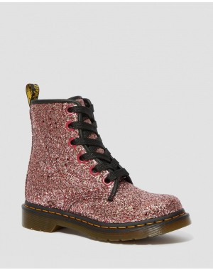 1460 WOMEN'S CHUNKY GLITTER LACE UP BOOTS - PALE PINK CHUNKY GLITTER