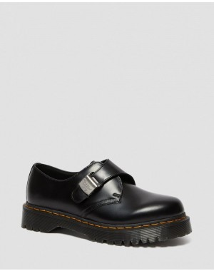 1461 FENIMORE BEX BUCKLE SHOES - BLACK POLISHED SMOOTH
