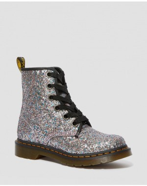 1460 WOMEN'S CHUNKY GLITTER LACE UP BOOTS - MULTI BLUE CHUNKY GLITTER