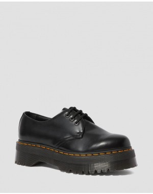 1461 SMOOTH LEATHER PLATFORM SHOES - BLACK POLISHED SMOOTH