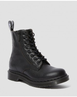 1460 PASCAL WOMEN'S LEATHER ZIPPER LACE UP BOOTS - BLACK AUNT SALLY