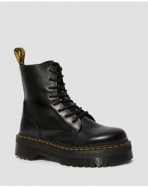 JADON SMOOTH LEATHER PLATFORM BOOTS - BLACK POLISHED SMOOTH