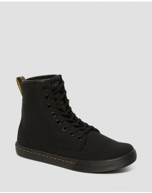 SHERIDAN WOMEN'S CANVAS CASUAL BOOTS - BLACK CANVAS