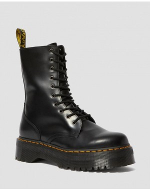 JADON HI SMOOTH LEATHER PLATFORM BOOTS - BLACK POLISHED SMOOTH