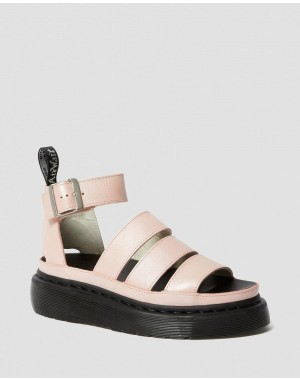CLARISSA II METALLIC LEATHER PLATFORM SANDALS - PINK SALT METALLIC PISA