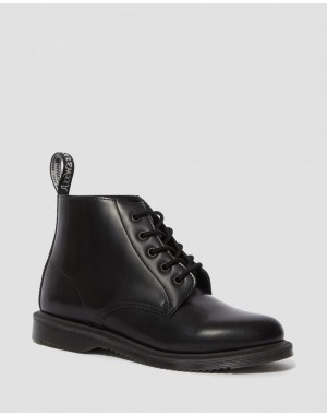 EMMELINE SMOOTH LEATHER LACE UP ANKLE BOOTS - BLACK POLISHED SMOOTH