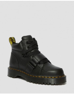 ZUMA II WOMEN'S LEATHER CHUNKY BOOTS - BLACK VIRGINIA