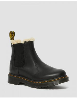 2976 WOMEN'S FAUX FUR LINED CHELSEA BOOTS - BLACK BURNISHED WYOMING