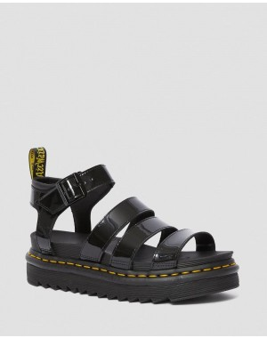 BLAIRE WOMEN'S PATENT LEATHER GLADIATOR SANDALS - BLACK PATENT LAMPER