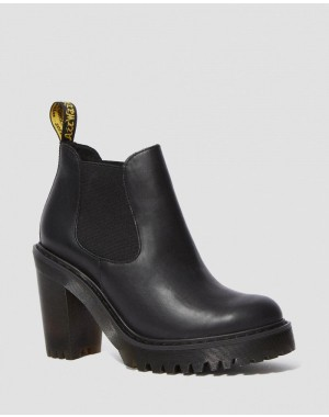 HURSTON WOMEN'S LEATHER HEELED CHELSEA BOOTS - BLACK SENDAL