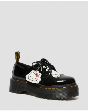 1461 WOMEN'S HELLO KITTY PLATFORM SHOES - BLACK-WHITE PATENT LAMPER-HYDRO LEATHER