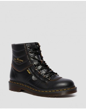 KAMIN VINTAGE SMOOTH LEATHER HIKER BOOTS - BLACK VINTAGE SMOOTH