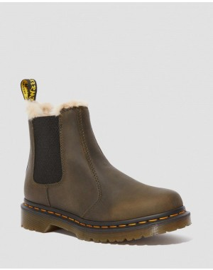 2976 WOMEN'S FAUX FUR LINED CHELSEA BOOTS - DMS OLIVE BURNISHED WYOMING