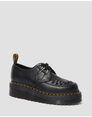 SIDNEY LEATHER CREEPER PLATFORM SHOES - BLACK POLISHED SMOOTH