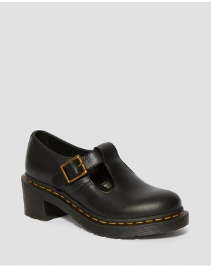 SOPHIA WOMEN'S LEATHER HEELED MARY JANE SHOES - BLACK WANAMA