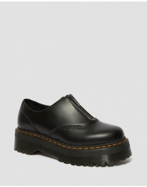AURIAN II SMOOTH LEATHER PLATFORM SHOES - BLACK POLISHED SMOOTH