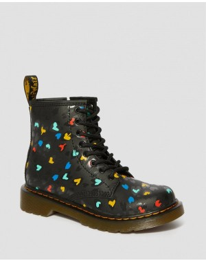 JUNIOR 1460 WILD HEART PRINT LACE UP BOOTS - BLACK-MULTI HYDRO LEATHER