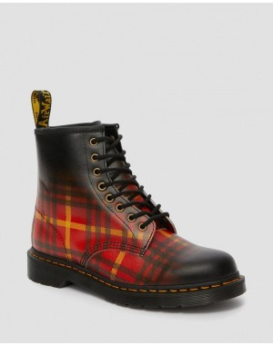 1460 MCMARTEN TARTAN LEATHER BOOTS - MULTI-BLACK TARTAN BACKHAND STRAW GRAIN