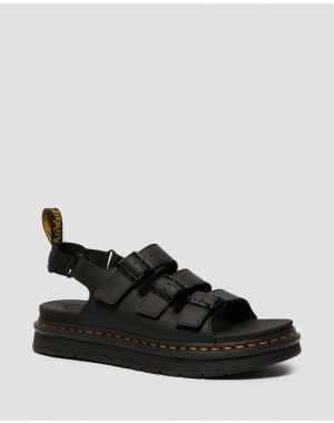 SOLOMAN MEN'S LEATHER STRAP SANDALS - BLACK HYDRO LEATHER