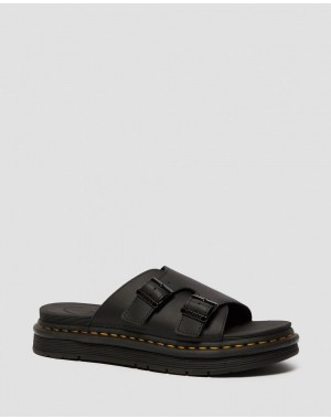 DAX MEN'S LEATHER SLIDE SANDALS - BLACK HYDRO LEATHER