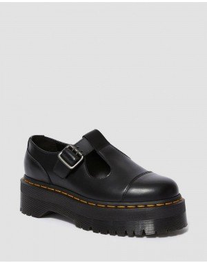 BETHAN SMOOTH LEATHER PLATFORM MARY JANE SHOES - BLACK POLISHED SMOOTH