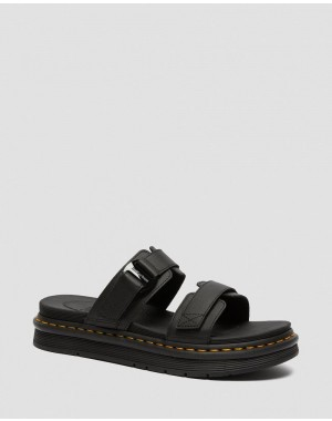 CHILTON MEN'S LEATHER SLIDE SANDALS - BLACK HYDRO LEATHER