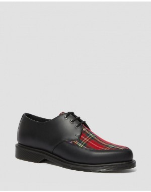WILLIS TARTAN LACE UP SHOES - BLACK+RED STEWART SMOOTH+TARTAN FABRIC