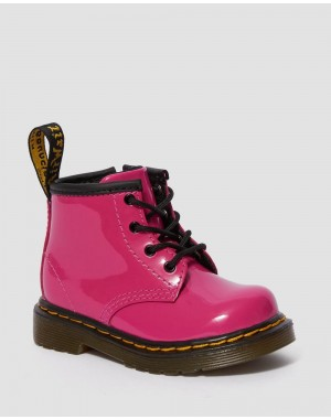 INFANT 1460 PATENT LEATHER LACE UP BOOTS - HOT PINK PATENT LAMPER