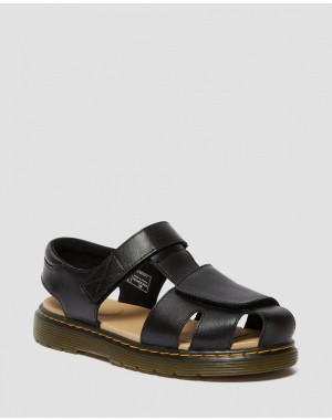 YOUTH MOBY II LEATHER VELCRO SANDALS - BLACK T LAMPER