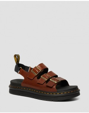 SOLOMAN MEN'S LUXOR LEATHER STRAP SANDALS - TAN LUXOR
