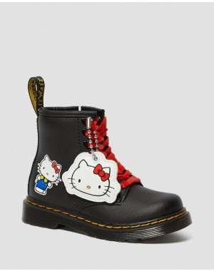 TODDLER 1460 HELLO KITTY LEATHER BOOTS - BLACK HYDRO LEATHER