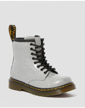 TODDLER 1460 GLITTER LACE UP BOOTS - SILVER COATED GLITTER