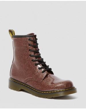 YOUTH 1460 GLITTER LACE UP BOOTS - ROSE BROWN COATED GLITTER