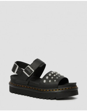 VOSS LEATHER STUDDED SANDALS - BLACK HYDRO LEATHER