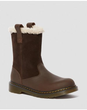 YOUTH JUNEY SUEDE FAUX FUR LINED BOOTS - DARK BROWN REPUBLIC WP+HI SUEDE WP