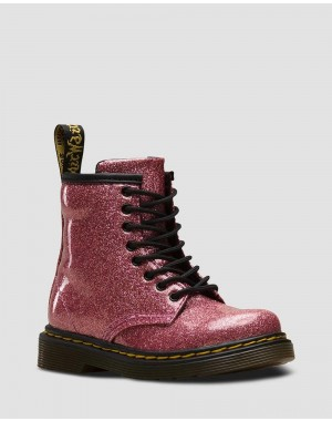 TODDLER 1460 GLITTER LACE UP BOOTS - PINK COATED GLITTER