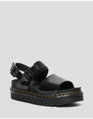 VOSS WOMEN'S PATENT LEATHER STRAP SANDALS - BLACK PATENT LAMPER