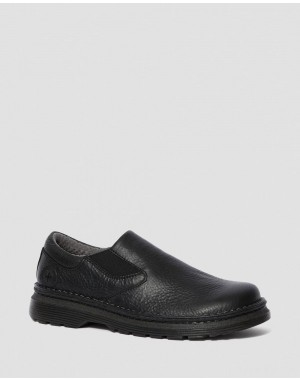ORSON MEN'S LEATHER SLIP ON SHOES - BLACK OVERDRIVE