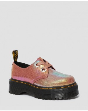 HOLLY WOMEN'S IRIDESCENT LEATHER PLATFORM SHOES - PINK IRIDESCENT
