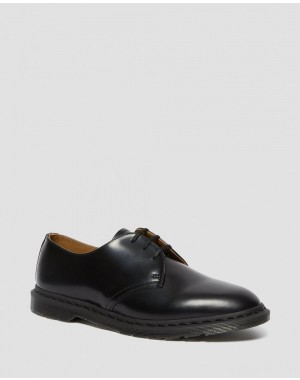 ARCHIE II SMOOTH LEATHER LACE UP SHOES - BLACK POLISHED SMOOTH