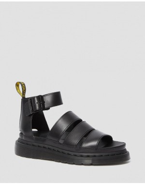 CLARISSA II WOMEN'S LEATHER STRAP SANDALS - BLACK BRANDO