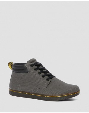 MALEKE MEN'S TWILL CANVAS CASUAL BOOTS - LEAD OVERDYED TWILL CANVAS