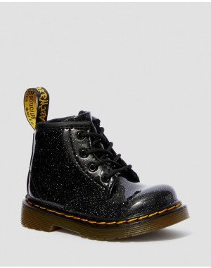 INFANT 1460 GLITTER LACE UP BOOTS - BLACK COATED GLITTER