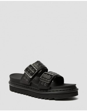 MYLES LEATHER BUCKLE SLIDE SANDALS - BLACK TEMPERLEY