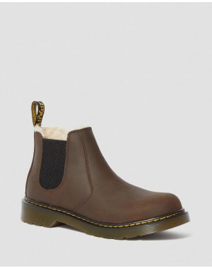 YOUTH 2976 FAUX FUR LINED CHELSEA BOOTS - DARK BROWN REPUBLIC WP