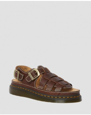 8092 LEATHER FISHERMAN SANDALS - DARK BROWN GRIZZLY