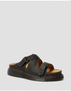BRADFIELD RUGGED LEATHER STRAP SANDALS - BLACK GRIZZLY